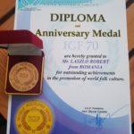 Robert Laszlo a fost distins cu diploma și medalia aniversară a Uniunii Mondiale de Folclor