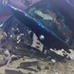 S-a oprit cu BMW-ul într-un cap de pod ! Patru răniți ! (Foto)