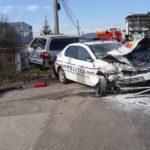 Mașina a Politiei, implicata într-un accident (Foto)