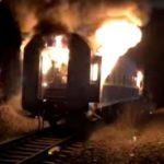 Incendiu la vagonul unui tren. Un calator a ars de viu (Foto)