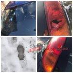 Mașina distrusa cu ciocanul
